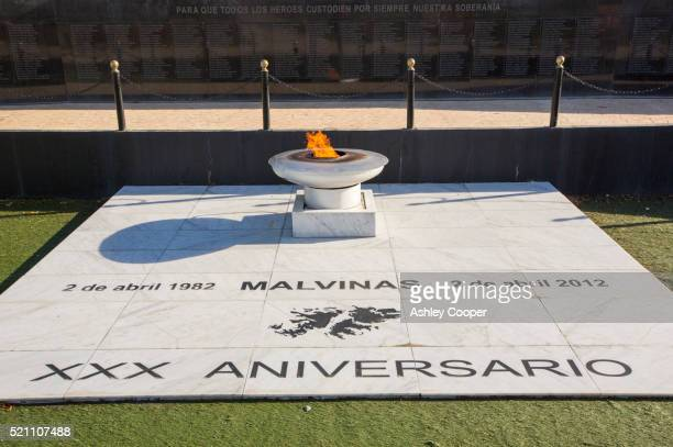 a war memorial for the fallen argentinian soldiers of the falklands conflict in ushuaia, argentina, - falklands war stock pictures, royalty-free photos & images