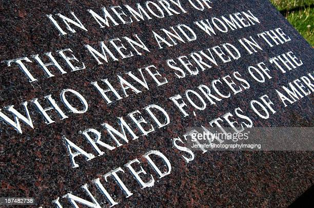 war memorial for the military and its fallen veterans - us military emblems stock pictures, royalty-free photos & images