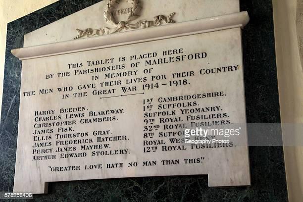 War memorial form the Great War 19141918 in Marlesford church Suffolk England UK
