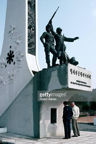 war memorial near panmunjom - panmunjom stock pictures, royalty-free photos & images