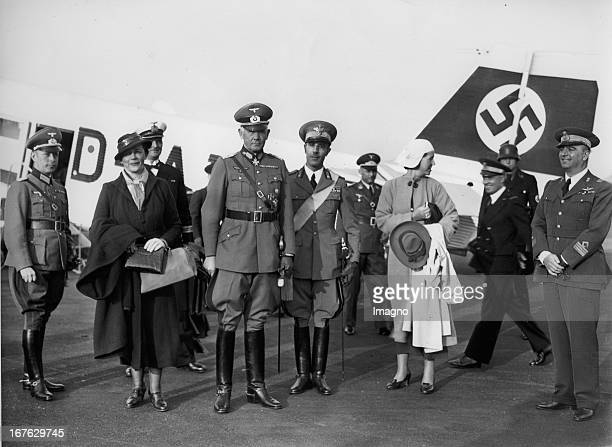 War Minister Field Marshal Werner von Blomberg at the airport before leaving for Rome To his right the Italian military attaché in Berlin Colonel...