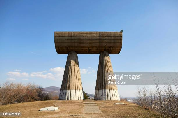War monument from the former Yugoslavia is seen on the Serbian side of Mitrovica on February 20, 2019 in Mitrovica, Kosovo. President Hashim Thaci...