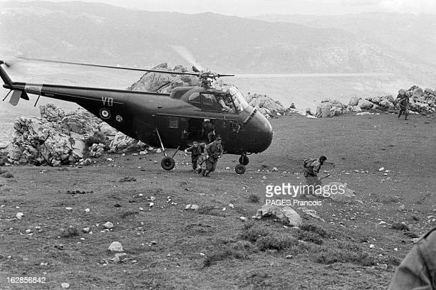 French Forces Operations In Aures Algérie Mai 1956 près de Tébessa les paras sautent de l'hélicoptère près du sol