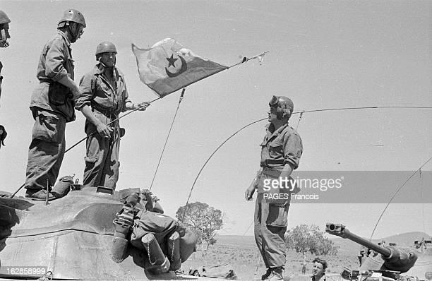 Palestro Massacre Le 23 mai 1956 des soldats debout sur un char avec un drapeau algérien près de Palestro en GrandeKabylie où des soldats français...