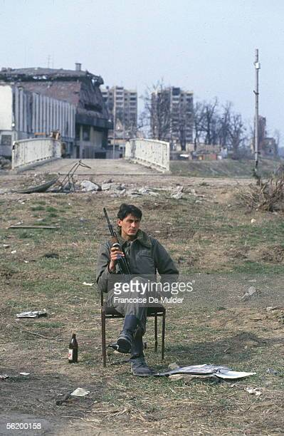 War of BosniaHerzegovina In the ruins of Vukovar besieged by the Serbs March 1992
