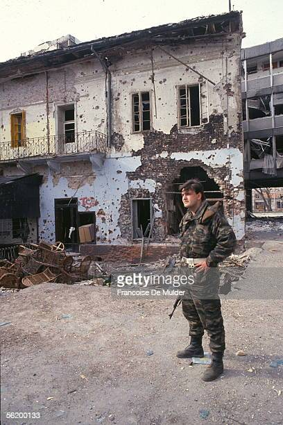 War of BosniaHerzegovina Ruins of Vukovar besieged by the Serbs March 1992