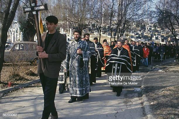 War of BosniaHerzegovina Serbian funeral in Bare March 1992