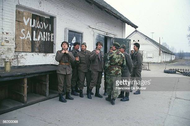 War of BosniaHerzegovina Serbian soldiers on the front of Osijek March 1992