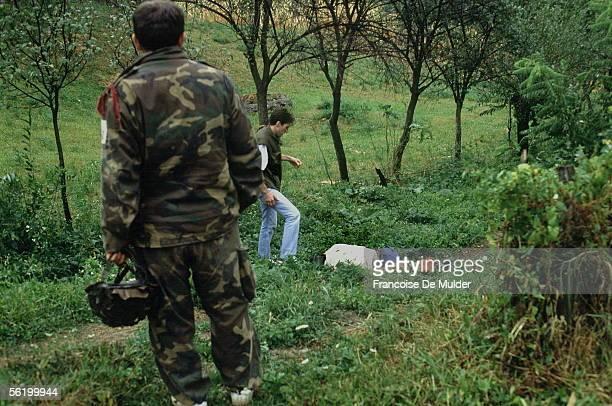 War of Bosnia-Herzegovina. Victim of massacres. Dobosnica, September 1992.