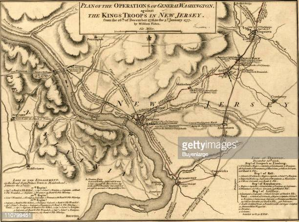 War of Independence New Jersey New Jersey late December or early January 1777 Illustrated by William Faden