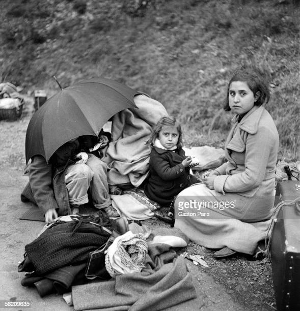 War of Spain Arrival of civil refugees in France February 1939