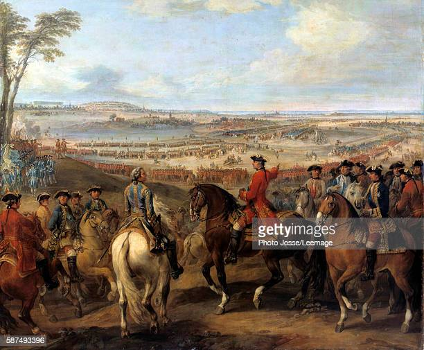 War of the Austrian Succession : Battle of Lawfeld, July 2, 1747. King Louis XV pointing out the village of Lawfeld to the Marshal de Saxe. Painting...