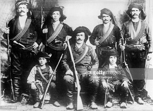 War of the Balkans . Patriots from the North of Albania, fighting against Turkish rule pose for a portrait circa 1912 in Albania.