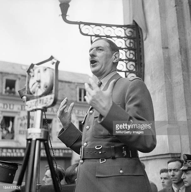War Office Second World War Official Collection General Charles de Gaulle addressing crowds in Chartres France 24 August 1944