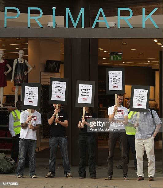 War on Want supporters demonstrate outside the Primark shop on Oxford Street on June 23 2008 in London England An investigation for the BBC's...