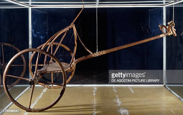 War or hunting chariot in bone and wood from Thebes Egyptian civilisation 14th century BC Florence Museo Archeologico Nazionale