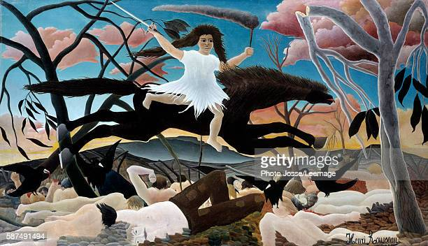 War or the Ride of Discord Painting by Henri Rousseau called Le Douanier Rousseau 1894 114 x 195 m Orsay Museum Paris