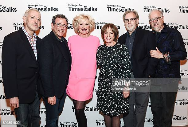 War Paint's Creative Team Scott Frankel Michael Greif Michael Korie and Doug Wright pose with Christine Ebersole and Patti LuPone during the...
