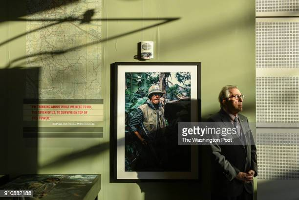 War photographer John Olson at his exhibit of war images from the Tet Offensive displayed at the Newseum on January 25 2018 in Washington DC