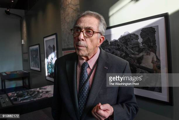 War photographer John Olson explains his exhibit of war images from the Tet Offensive displayed at the Newseum on January 25 2018 in Washington DC