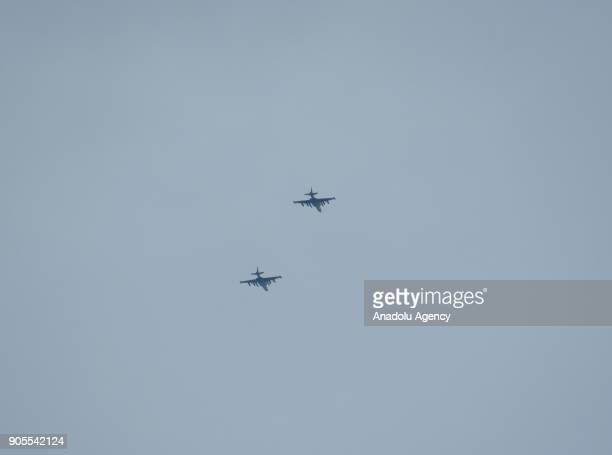 War planes are seen after an attack to Khan Shaykhun in Idlib in Syria on January 16 2018