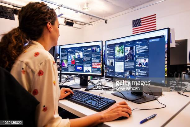 War room leader for Brazil elections Lexi Sturdy works in Facebook's War Room during a media demonstration on October 17 in Menlo Park California The...