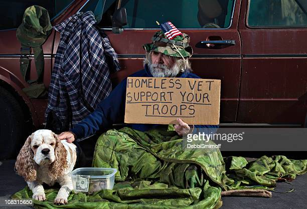 war veteran and his dog - homeless veterans stock photos and pictures