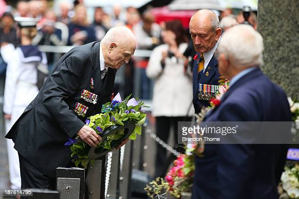 A war veteran lays a wreath at the Cenotaph during the Rememberance Day Service held at the Cenotaph Martin Place on November 11 2013 in Sydney...