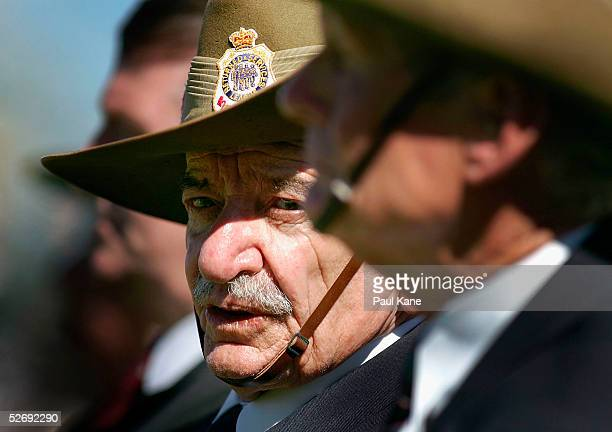 A war Veteran marches in the parade for Anzac Day on April 25 2005 in Perth Australia Australians and New Zealanders are today commemorating the 90th...