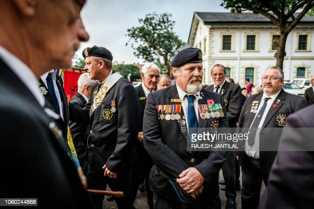 War veterans and members of the Memorable Order Of the Tin Hat gather to take part in a Sunset Parade in Durban on November 11 2018 as part of...