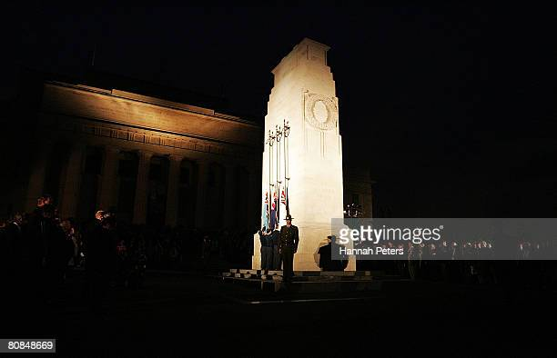 War Veterans and members of the public observe one minute silence around the Cenotaph during the Anzac Day Commemorations on the Court of Honour...