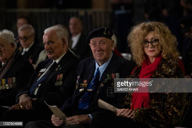 War veterans and other guests attend the Anzac Day dawn service in Sydney on April 25, 2021. - Dawn services were held across the two countries on...