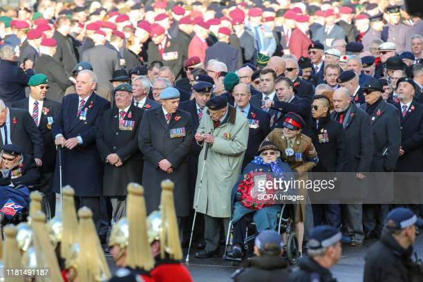 War veterans attend the annual Remembrance Sunday memorial at The Cenotaph in Whitehall London