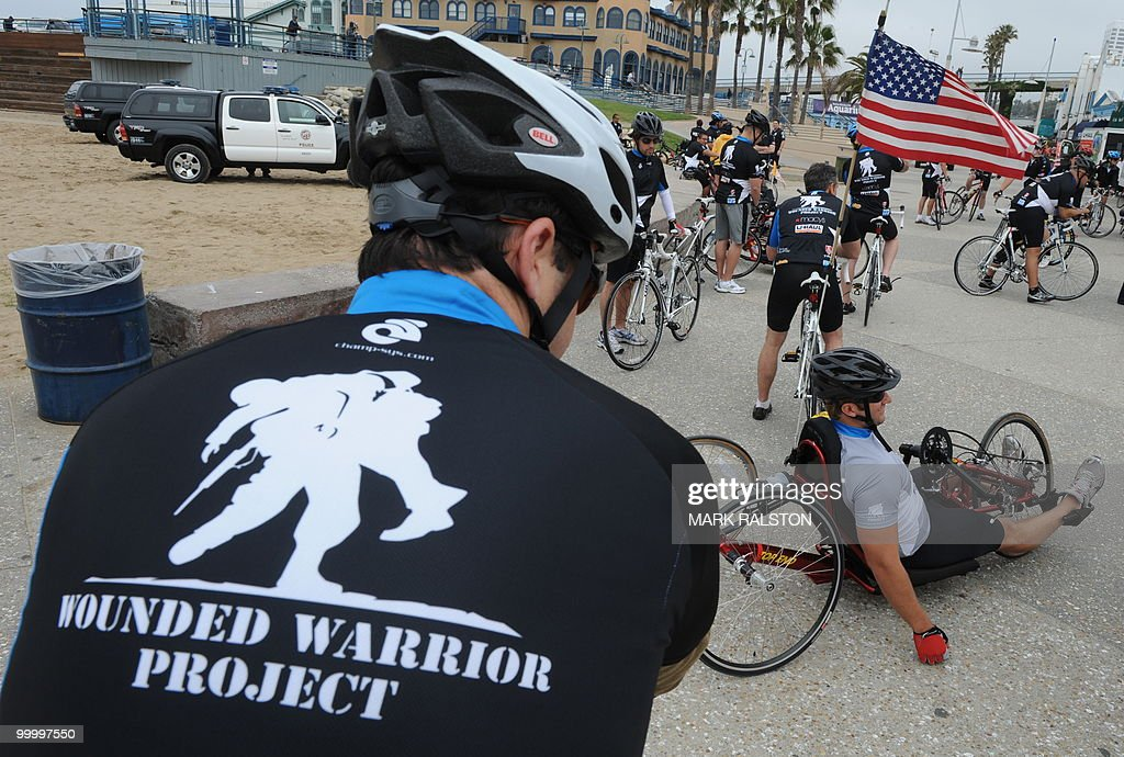 War veterans get ready to start their 12 mile loop ride as they prepare to kick off their 3 day 'Wounded Warrior Project Soldier Ride' to San Diego at Santa Monica Pier in Los Angeles on May 19, 2010. The ride will bring together thirty wounded warriors from current wars in Iraq and Afghanistan to ride on adaptive equipment from Los Angeles to San Diego. AFP PHOTO/Mark RALSTON