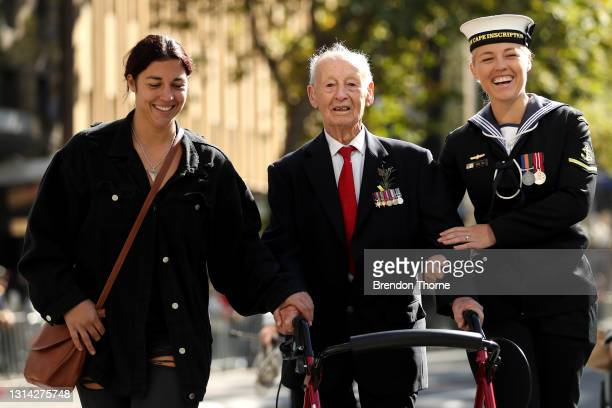War veterans make their way down Elizabeth Street during the ANZAC Day parade on April 25, 2021 in Sydney, Australia. Anzac day is a national holiday...