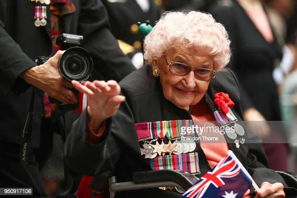 War veterans make their way down Elizabeth Street during the ANZAC Day parade on April 25 2018 in Sydney Australia Australians commemorating 103...
