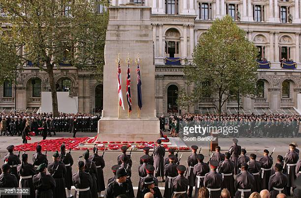 War veterans march past the Cenotaph during the Remembrance Sunday Service at The Cenotaph on November 12, 2006 in London, England. The Festival of...