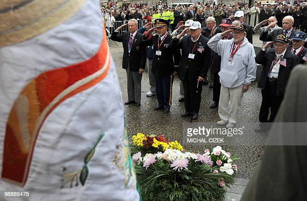 US war veterans pay tribute during the observance of the 65th anniversary of victory over Nazi Germany on 06 May 2010 in Plzen Several thousands of...