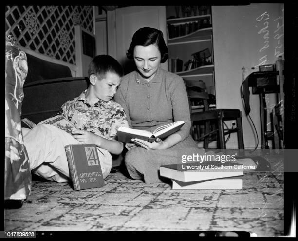 War widow UCLA 19 June 1954 Richard Hollibaugh 10 yearsMrs Anne Hollibaugh Caption slip reads 'Photographer Olmo Date Reporter Olmo Assignment War...