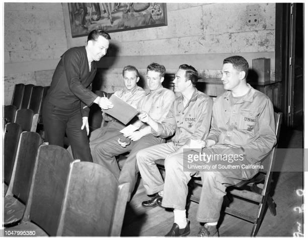 War wounded May 16 1951 Marine Private First Class Bobby DukeMrs Pearl DukeLieutenant Commander J T Lake JrIsabel Lake Sergeant Max W MintunJean...