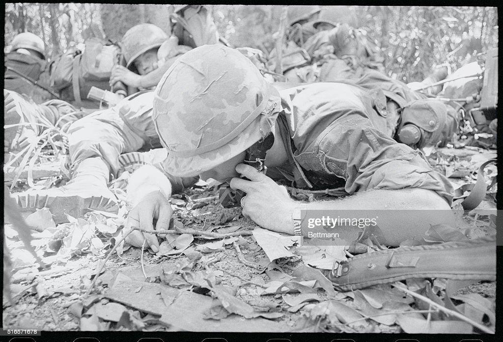 Calling For Help  A U  S  173rd Airborne Brigade radioman