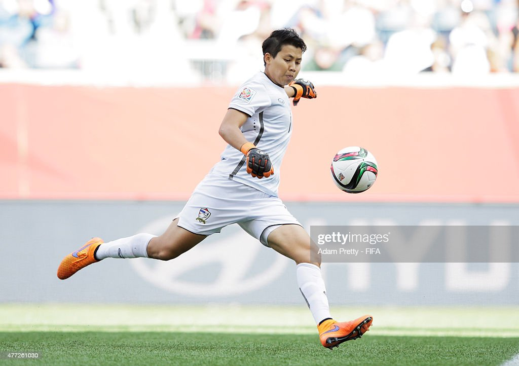Waraporn Boonsing of Thailand in action during the FIFA Women's World Cup 2015 Group B match between Thailand and Germany at Winnipeg Stadium on June 15, 2015 in Winnipeg, Canada.
