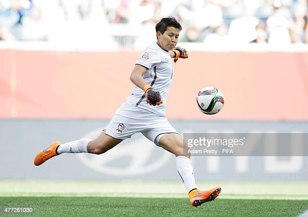 Waraporn Boonsing of Thailand in action during the FIFA Women's World Cup 2015 Group B match between Thailand and Germany at Winnipeg Stadium on June...
