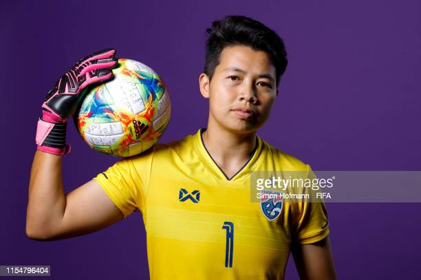 Waraporn Boonsing of Thailand poses for a portrait during the official FIFA Women's World Cup 2019 portrait session at Grand Hotel Continental on...