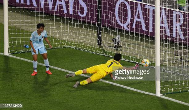 Waraporn Boonsing of Thailand scores an own goal Chile's first goal during the 2019 FIFA Women's World Cup France group F match between Thailand and...