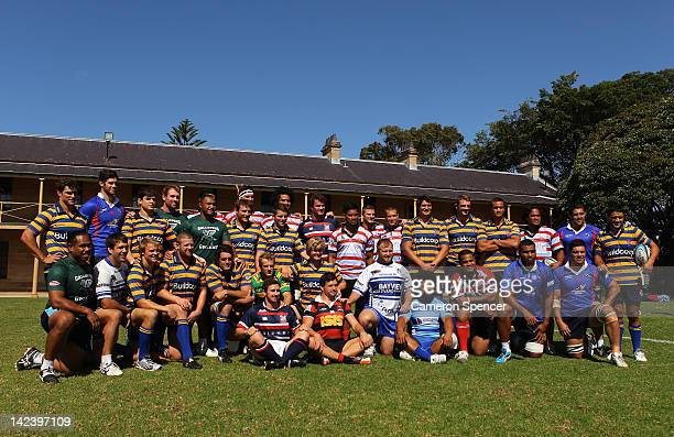 Waratah players pose wearing their club jerseys during a Waratahs Super Rugby training session at Victoria Barracks on April 4 2012 in Sydney...