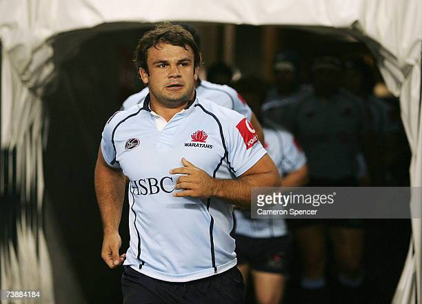 Waratahs captain Adam Freier leads out his team for the round 11 Super 14 match between the Waratahs and the Reds at Aussie Stadium April 14 2007 in...