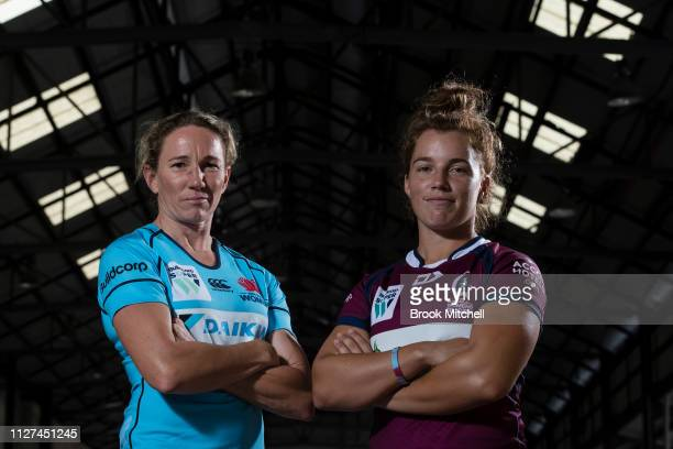 Waratahs Captain Ashleigh Hewson and Qeensland Reds Lori Cramer during the Super Rugby Super W Season Launch at Carriageworks on February 05 2019 in...