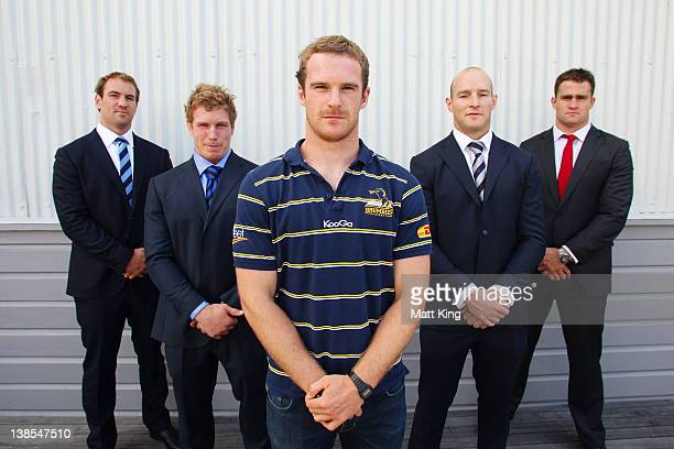 Waratahs captain Rocky Elsom, Western Force captain David Pocock, Pat McCabe of the Brumbies, Melbourne Rebels captain Stirling Mortlock and...