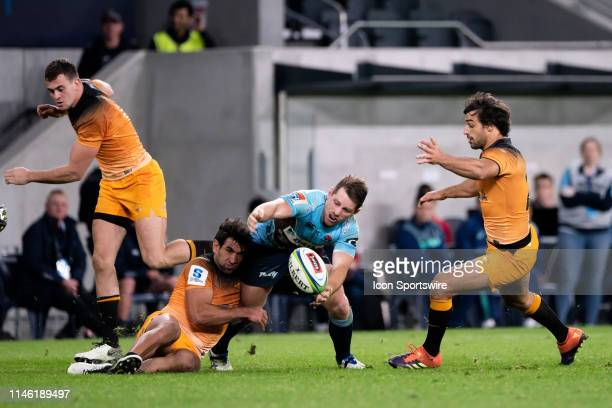 Waratahs player Bernard Foley drops the ball at week 15 of Super Rugby between NSW Waratahs and Jaguares on May 25, 2019 at Western Sydney Stadium in...
